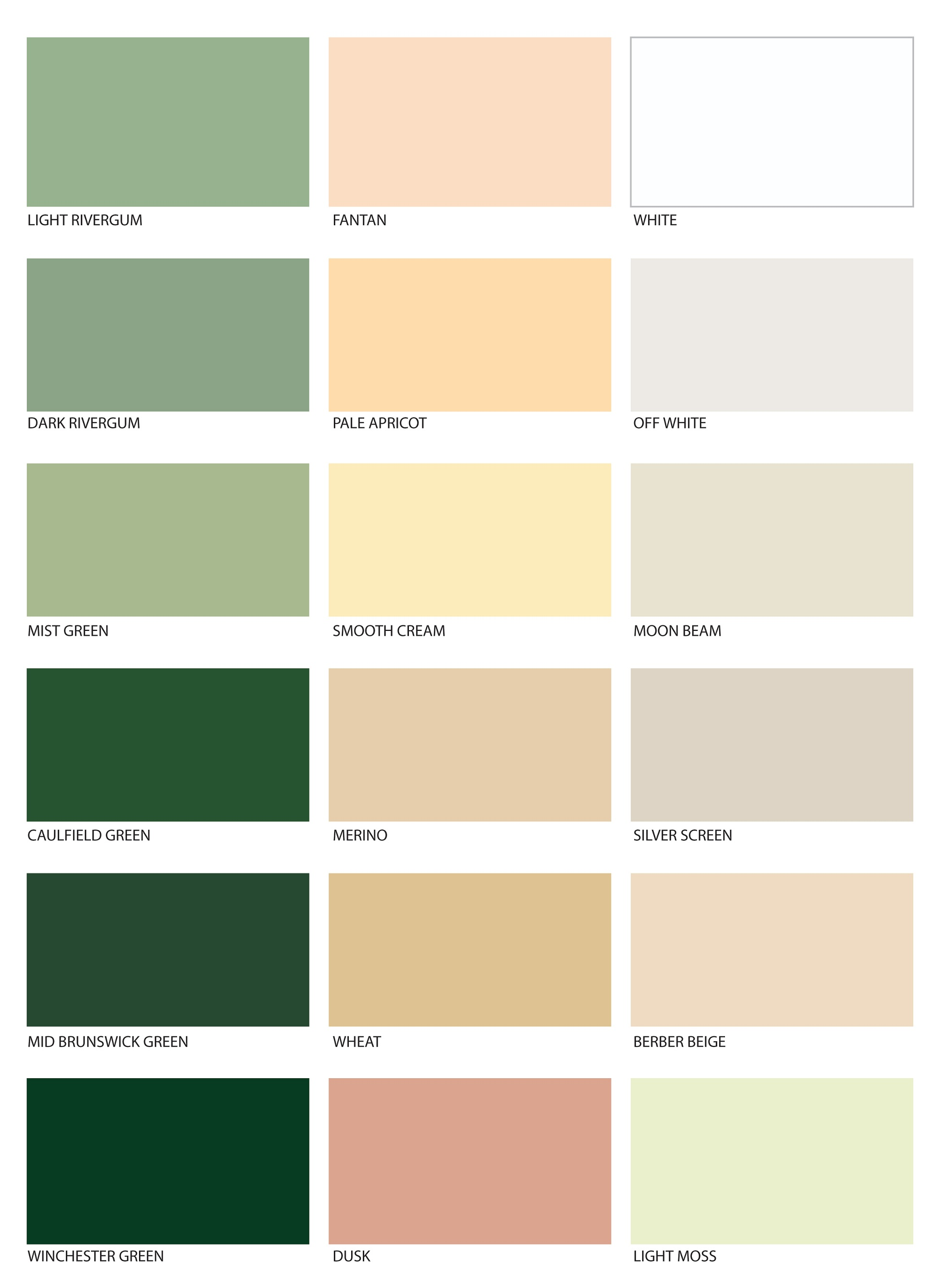 Leyland paints colour chart - Colour Chart Green However We Recommend Checking Your Chosen Colour Against A Painted Sample Of